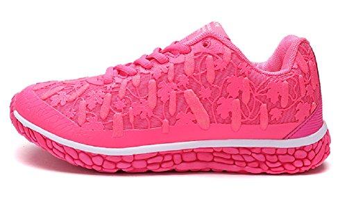 Jiye Womens Casual Running Scarpe Sportive Silenziatore Fluorescente Mesh Superiore Moda Sneakers By Rose Red-1