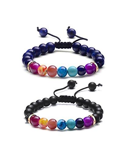 Two Stone Bead (7 Chakra Charm Yoga Natural Stone Beads Bracelets for Women Men (Set of 2))
