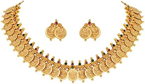 Aheli Indian Wedding Traditional Coin Necklace Dangle Earrings Set EncrustedFaux Ruby Emerald Color Stone Fashion Jewelry for Women