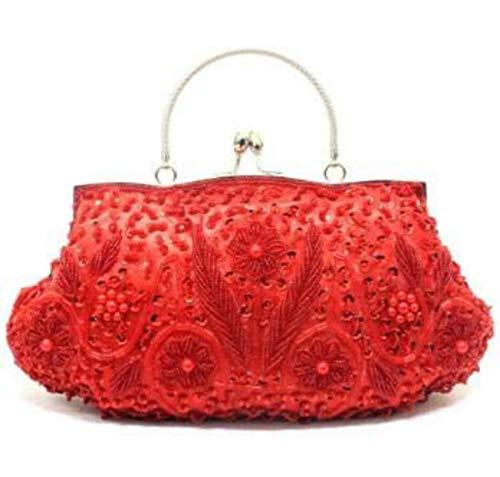 - Beaded Sequin Design Metal Frame Kissing Lock Satin Interior Evening Wedding Party Handbag Clutch (Red)