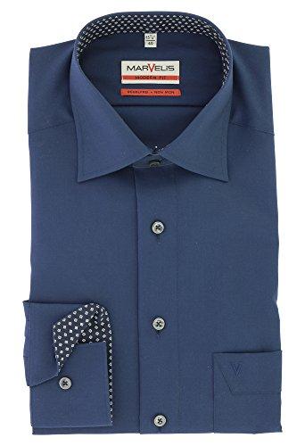 Marvelis Modern Fit Herren Businesshemd Langarm mit Kent Kragen 100% Baumwolle Gr. 40 Marine Blau
