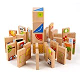 MEIGO Toddler Toys – Baby Kids Wooden Educational Preschool Dominoes Shape Puzzle Matching Game Building Blocks for 1 2 3 4-5 Year Old Boys Girls (32PCS)