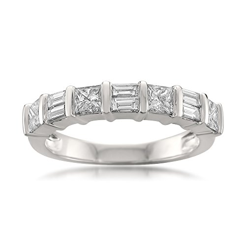 - 14k White Gold Princess-Cut & Baguette Diamond Bridal Wedding Band Ring (1 cttw, I-J, I1-I2), Size 8