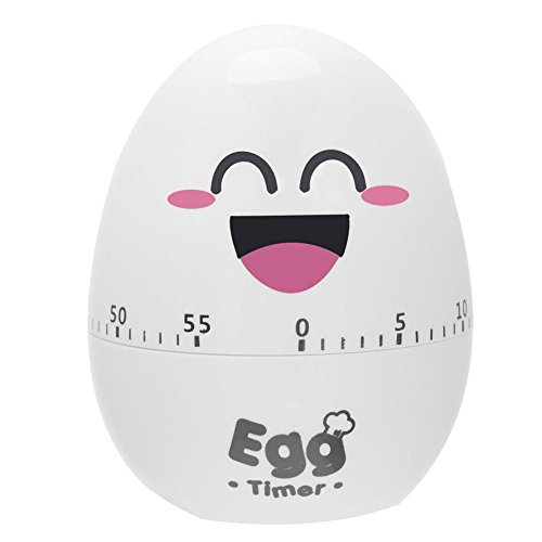 Fdit Egg Shaped Mechanical Rotating Alarm Manual Timer Wind Up Countdown with 55 Minutes for Cooking Kitchen Tool Gadgets(White)