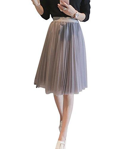 Femme Printemps Jupe Longue Cocktail Soire Haute Taille Tulle Jupe Gris