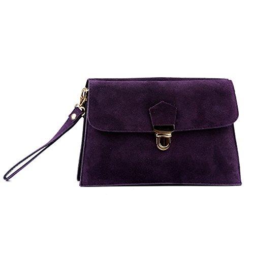 Genuine Bag Purple Aossta Clutch Cross Leather Suede Bag Italian Wedding Body F515Cnq4