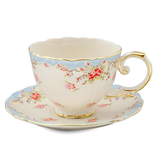 gracie china vintage blue rose porcelain 7 ounce tea cup and saucer set of 4 new ebay. Black Bedroom Furniture Sets. Home Design Ideas