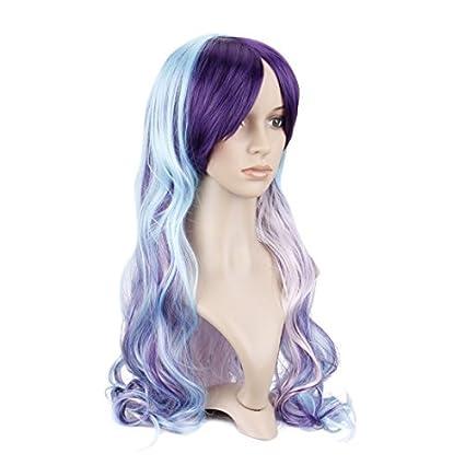 Queentas Peluca de cosplay para niñas, color azul mezclado, morado, larga, ondulada