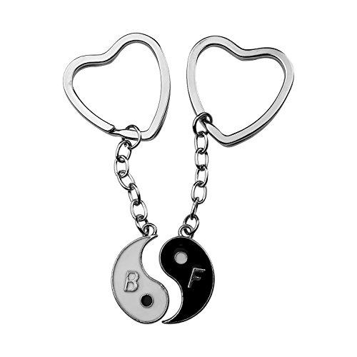 Art Attack Silvertone Yin Yang Yin-Yang Peace Love Happiness Best Friends Forever BFF Hearts Enamel Bag Charm Pendant Keychain Yin Yang Bag