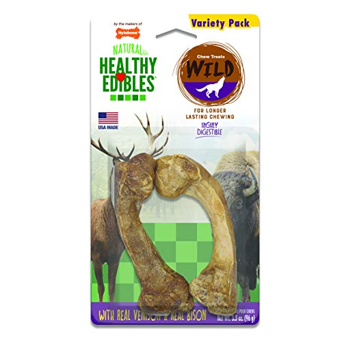 - Nylabone Healthy Edibles Wild Venison & Bison Dog Treats | All Natural Grain Free Dog Treats Made In the USA Only | Small and Large Dog Chew Treats | 2 Count