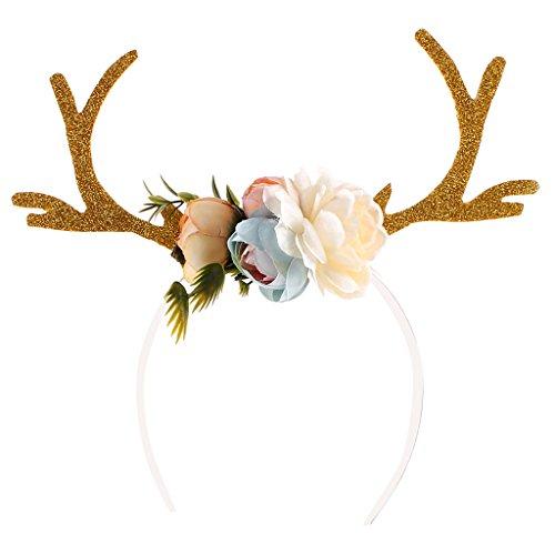 MonkeyJack 4 Chooseable Colors Adult Kid Christmas Deer Antlers Costume Ear headband - Khaki, as described (Costumes Deer Antlers)
