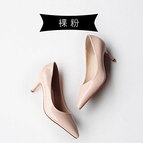 altos polvo otoño y con pink Tacones tacones punta en Nuevo acentuado 2018 Bare negros primavera Jqdyl zapatos YpgPxw