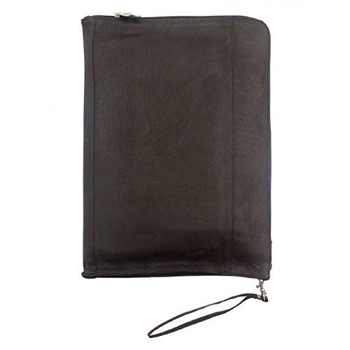 Piel Leather Zip Around Envelope in Black