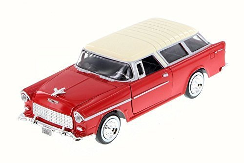 Scale Model Tugs - 1955 Chevy Belair Nomad, Red w/ White - Motor Max 73248WB - 1/24 Scale Diecast Model Car