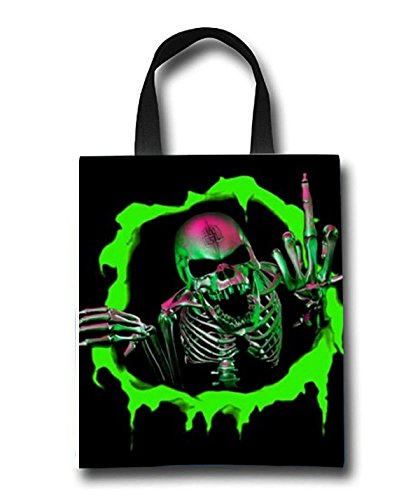Flaming Skull Beach Tote Bag - Toy Tote Bag - Large Lightweight Market, Grocery & Picnic by Linhong