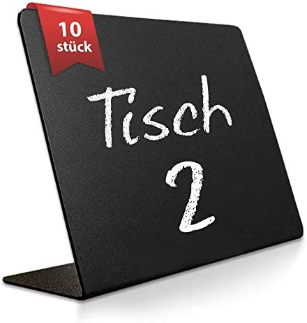 10 Pack Rustic Mini Chalkboard Signs - 76x101mm For Liquid Chalk Markers And Chalk - Small Plastic Message Board Signs - Table Numbers - Food Labels For Party - Small Chalkboard