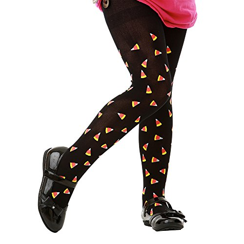 Black Mid-Rise Candy Corn Halloween Children's Cosplay Costume Tights (Medium) -