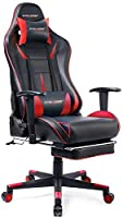 GTracing Gaming Chair Ergonomic Office Chair with Footrest Heavy Duty E-Sports Chair for pro Gamer Seat Height Adjustable Multifunction Recliner with Headrest and Lumbar Support Pillow GT909 Red