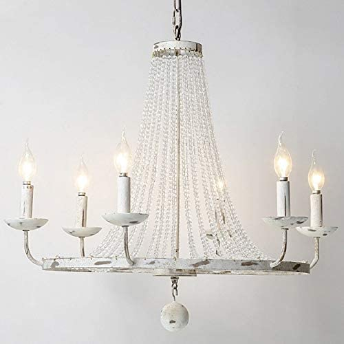 Jiuzhuo Rustic Vintage Candle Style Crystal Bead Strands Metal Wheel Large Chandelier Lighting Hanging Ceiling Fixture,Distressed White 6-Light