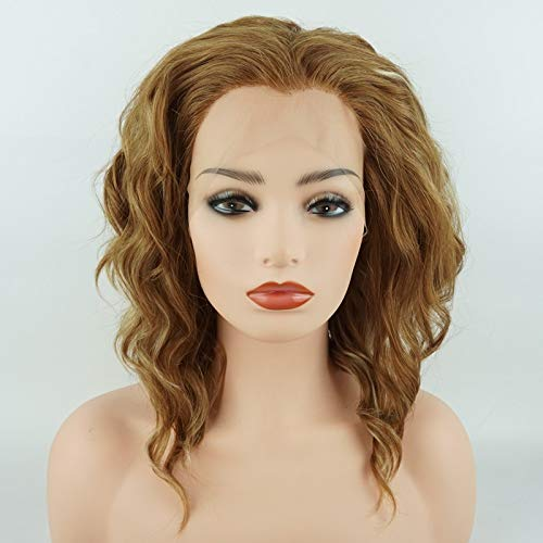 Meiyite Hair Curly Short 14inch Light Blonde and Honey Blonde Mix Half Hand Tied Heavy Density Realistic Synthetic Lace Front Wigs ()