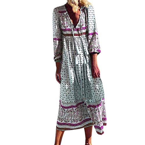 Ladies's Boho Lengthy Clothes Summer season Informal Gown Lengthy Seeve Swing Gown Free V Neck Solar Clothes Scorching Pink