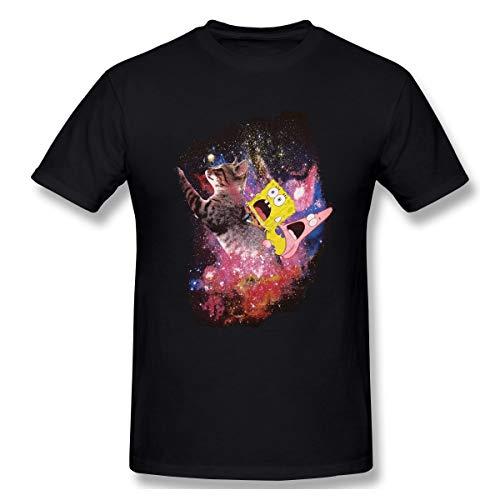 Love Taste Sponge-bob Pa-Trick Riding A Cat Men's Basic Outdoor Casual Custom Short Sleeve T-Shirt, Black
