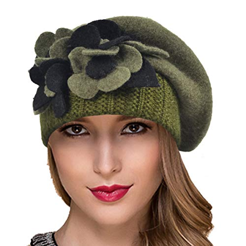 Ruphedy Women French Beret Knit Wool Beret Beanie Winter Dress Hats Hy022 (Hy023-Green) -