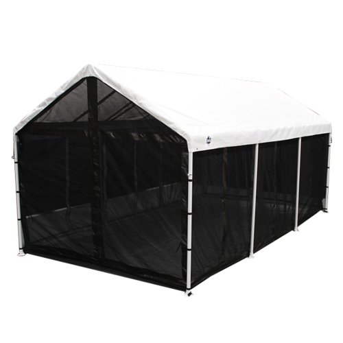 King Canopy CSR1020BK 10-Feet by 20-Feet Fully Enclosed Canopy Bug Screen Room with Floor and Ceiling, Black
