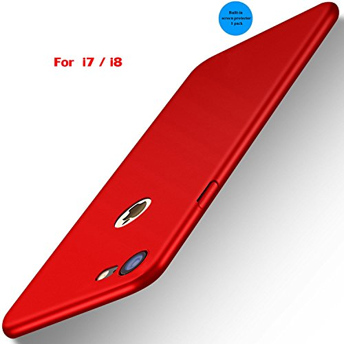 Apple iPhone 7 Slim Case,iPhone 8 Phone Case,with Tempered Glass Screen Protector,Ultra Thin Protective Plastic Hard Shell,3D Full Coverage Anti-Scratch,Anti-Fingerprint Case Protective Kit(Lucky Red ()