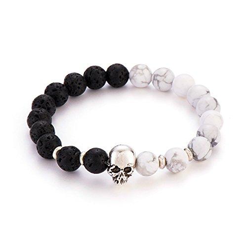 Stretch Silver Bracelet Beaded Plated (POSHFEEL Silver Plated Skull 8mm Gem-stone Stretch Bracelet Round Gem Semi Precious Beads Unisex, 7.5