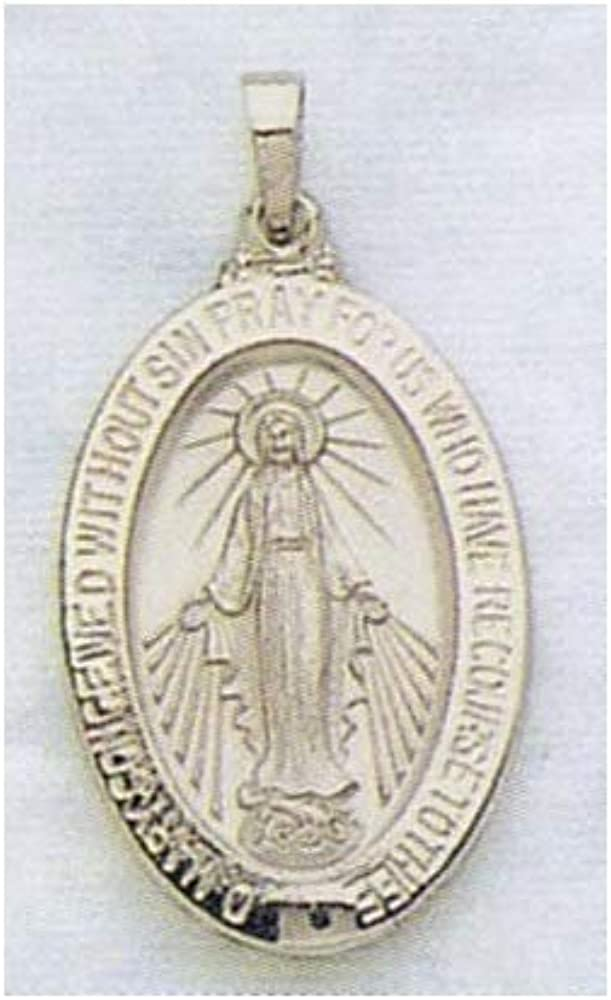 18mm x 24mm Jewel Tie 925 Sterling Silver Antiqued-Style Miraculous Medal