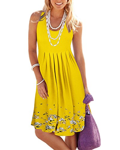 KILIG Women Summer Casual Dress Loose Print Pleated Sleeveless Mini Vest Sun Dresses for Beach Wedding Party(Yellow,XL)