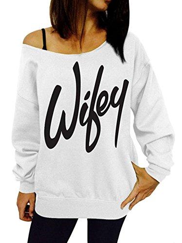 Invierno Camisetas Tirantes Otoño Minetom Manga Blanco Hombro Letras Sweatshirt Mujeres Larga De Sin Del Impresión Fuera Sudaderas 8gpxE4pq