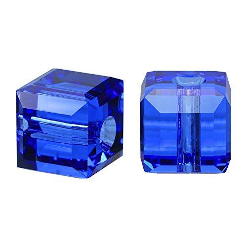- Swarovski Crystal, 5601 Cube Beads 4mm, 10 Pieces, Sapphire Blue