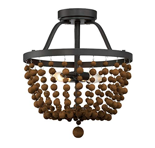 Trade Winds Lighting Tw022068orb Wood Bead Basket Ceiling Semi Flush Mount In Oil Rubbed Bronze