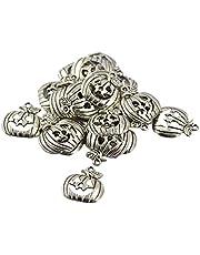 LIXBD 30 st halloween berlocker legering hängen berlocker halloween fest gåvor halsband armband tillbehör för gör-det-själv hantverk smycken tillverkning (antika
