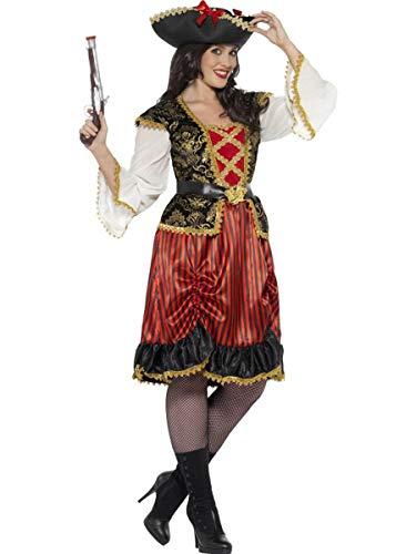 2 PC Pirate Lady Midi Dress & Belt Party Costume - Plus Size Red]()