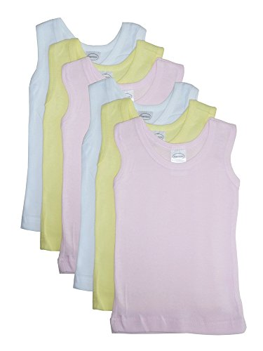 Baby Girl's White, Yellow, Pink Rib Knit Pastel Sleeveless Tank Top Shirt 6-Pack Bambini Tank Top
