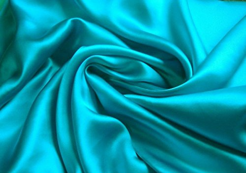 4-Piece FULL size, SOLID TURQUOISE BLUE Soft Silky Charmeuse Satin Sheet Set - Flat, Fitted and Pillow Cases. Deep Pockets