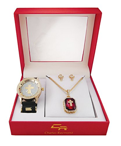 Hip Hop Ruby Red Gem and Cross Watch with Jewelry Gift Set. Includes Iced Out Sq Cut Ruby Pendant with uniquely overlaying Iced out gold cross on Gem Matching Iced Out Earrings and Watch - GJM10D Ruby