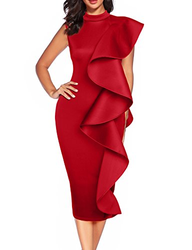 Women's Clubwear Dress Sleeveless Ruffles Bodycon Cocktail Party Dress (Red, L) ()