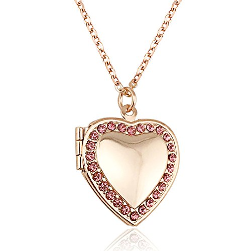 YOUFENG Love Heart Locket Necklace Holds Pictures Paved Blue Red White CZ Rose Gold Charm Living Memory Lockets (Rose Gold ()