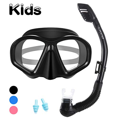 (Supertrip Kids Snorkel Set-Scuba Dry Top Diving Mask Anti-Leak Impact Resistant Panoramic Tempered Glass Easybreath Snorkeling Packages Professional Swimming Gear for Youth Boys and Girls (Black))