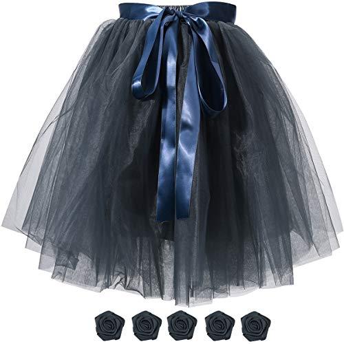 (Women's Solid A Line High Waist Princess Tulle Skirt Grils's Tutu Skirt Dance Tutu Flowers for DIY)