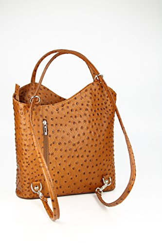 Belli - Bolso mochila  para mujer Negro Maronenbraun 28x28x8 cm (B x H x T) Cognac strauss