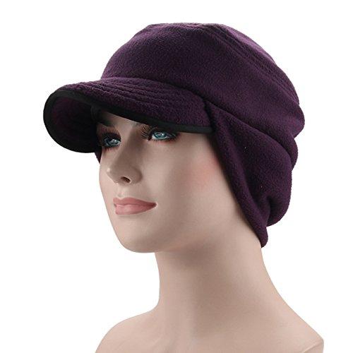 C-Stylish Earflap Hat Fleece Men Winter Cap With Visor Purple, One Size