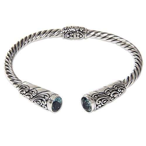 NOVICA Blue Topaz .925 Sterling Silver Hinged Cuff Bracelet 'Beacon of Light' ()