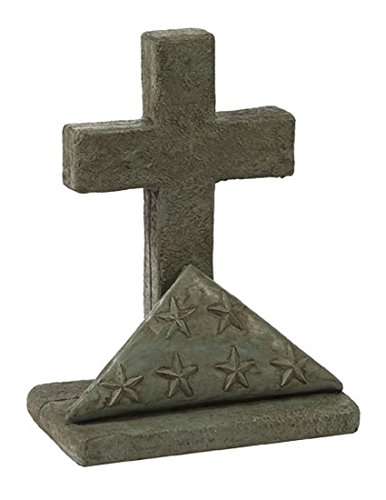 Solid Rock Stoneworks American Flag Cross Stone Statue 18in Tall Cypress Green Color Review