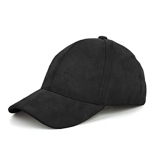 JOOWEN 6 Panel Faux Suede Baseball Cap Classic Adjustable Soft Plain Hat (Black)