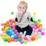 Multicoloured Ball Pit Balls Pack of 100 BPA Free Phthalate Free Crush Proof Plastic Play Balls In Zippered Storage Bag Great for Tent Playhouse Kiddie Pool Playpen and Bounce House